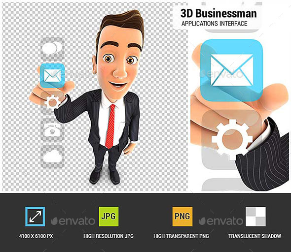 3D Businessman Applications Interface - Characters 3D Renders