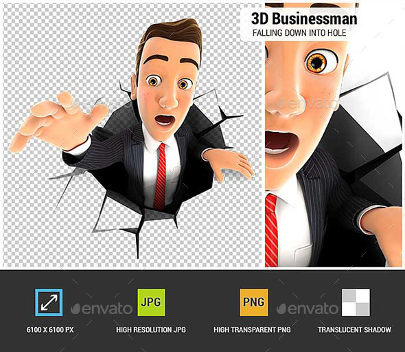 3D Businessman Falling Down into a Hole - Characters 3D Renders
