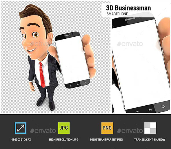 3D Businessman Holds Smartphone - Characters 3D Renders