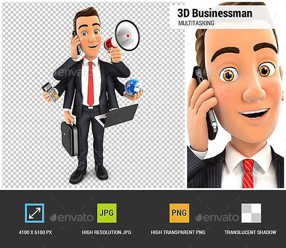 3D Businessman Multitasking - Characters 3D Renders