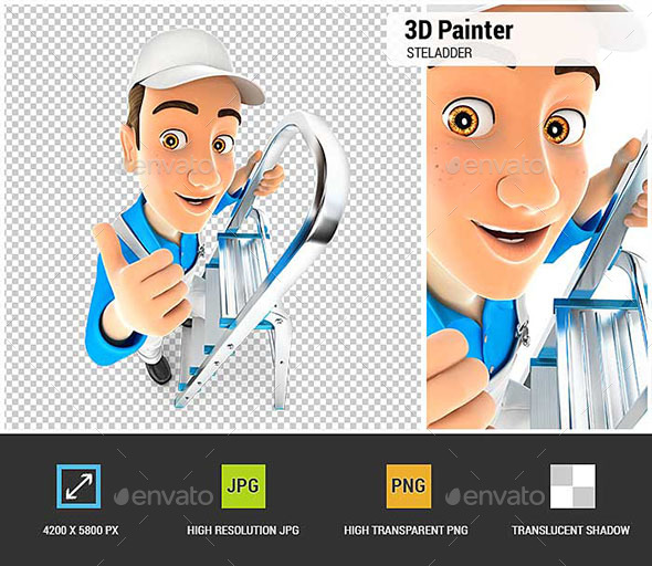 GraphicRiver 3D Painter on Stepladder with Thumb Up 20526297