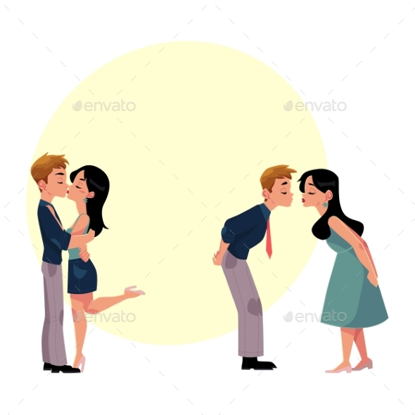 GraphicRiver Set of Young Couple Man and Woman Kissing 20526424
