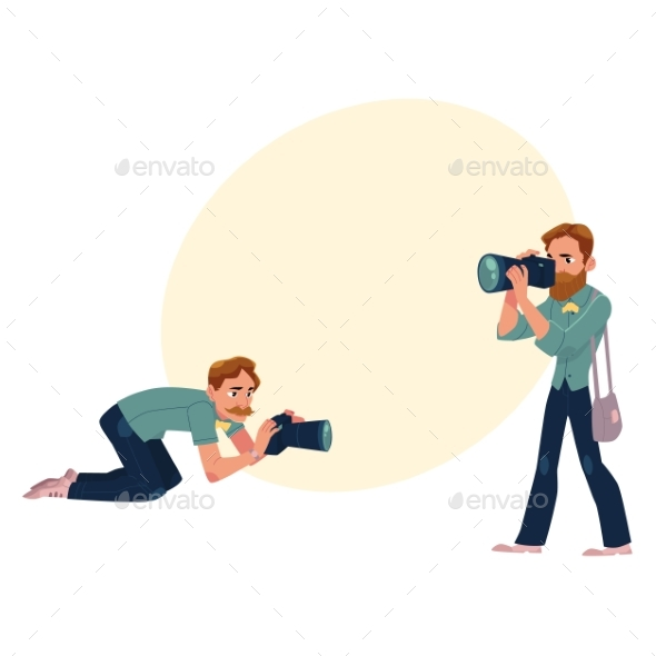GraphicRiver Set of Cartoon Photographers at Work 20526438