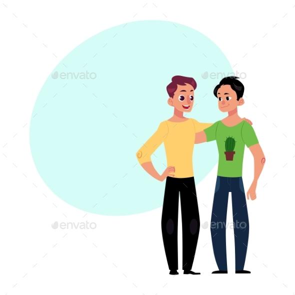 GraphicRiver Male Friendship Two Boys Men Friends Hugging 20526440