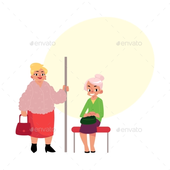 GraphicRiver Plump Middle Age Woman Standing Old Lady Sitting 20526450