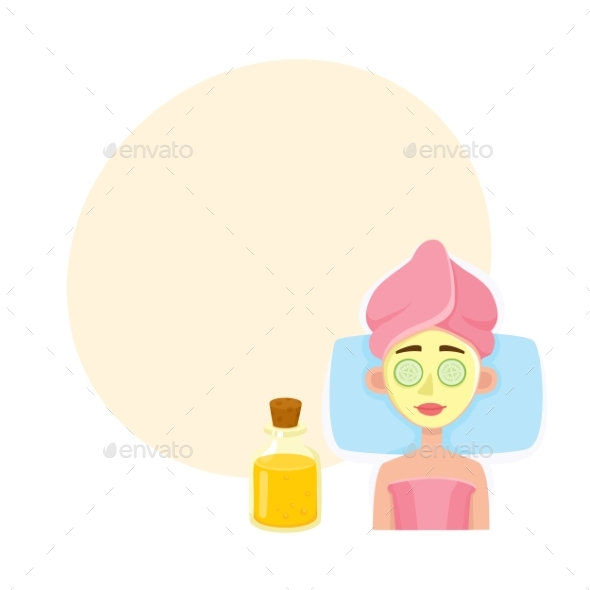 Young Woman Getting Cosmetic Facial Mask in Spa - People Characters
