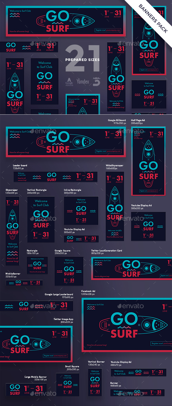 Go Surf Banner Pack - Banners & Ads Web Elements
