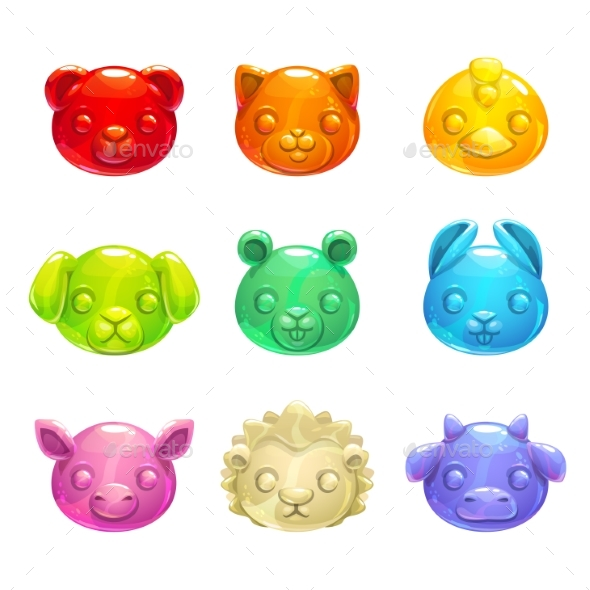 GraphicRiver Jelly Animals Faces 20526665