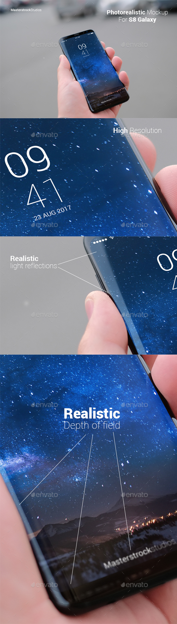 S8 Galaxy Smartphone Photo-realistic Mockup - Mobile Displays