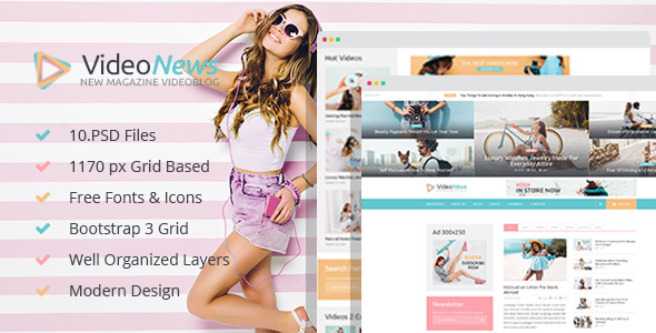 ThemeForest Video News Magazine Videoblog PSD Template 20526699