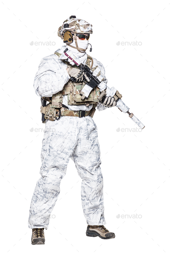 Special forces operator in winter camo clothes - Stock Photo - Images
