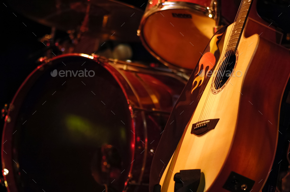 drums and guitar - Stock Photo - Images