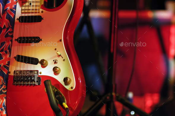 guitar on stage - Stock Photo - Images