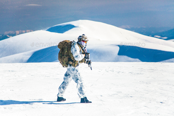 Winter arctic mountains warfare - Stock Photo - Images