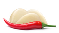 Garlic cloves with cayenne pepper, paths