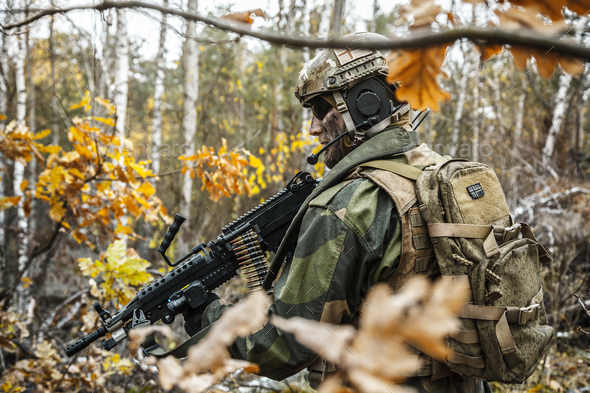 norwegian soldier in the forest - Stock Photo - Images