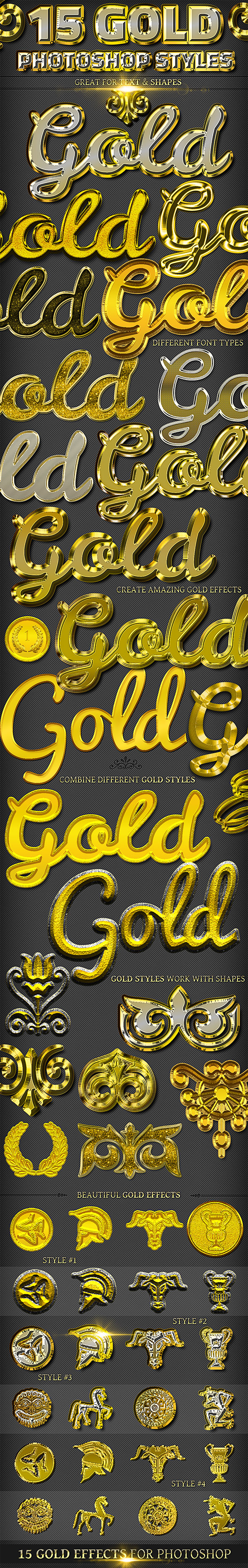 15 Gold Effect Photoshop Styles - Text Effects Styles