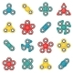Hand Fidget Spinner Toy Vector Colorful Icon Set