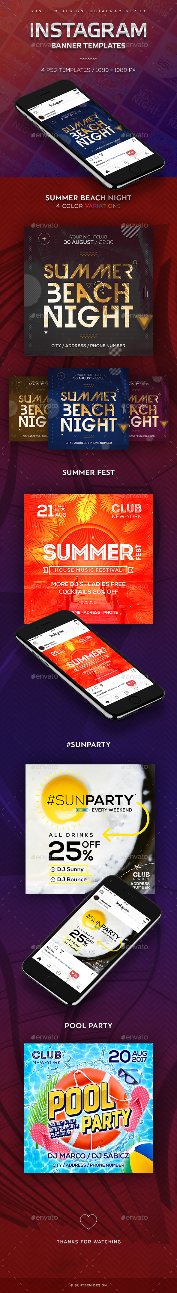 GraphicRiver Sun Party 4 Instagram Banner Templates 20528112