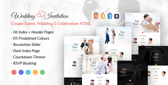 Wedding Invitation - Couple Event and Celebration HTML Template