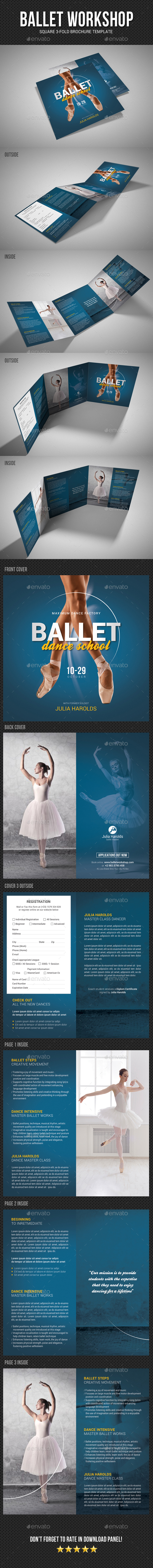 Square Ballet Workshop Brochure - Brochures Print Templates
