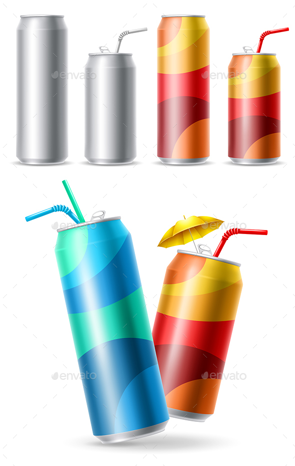 Realistic Steel Cans Set - Food Objects