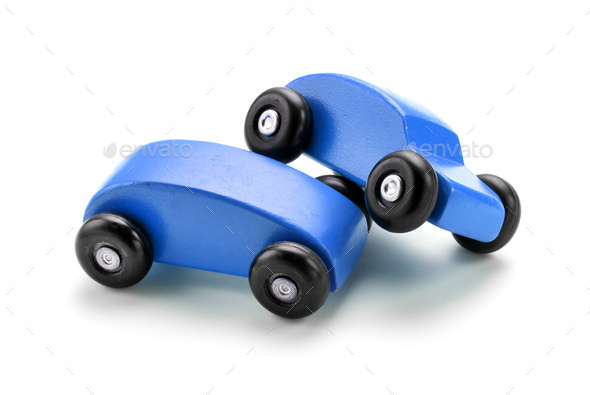 Blue Toy Car Crash Against White Background Stock Photo By Photology75