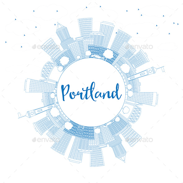 Outline Portland Skyline with Blue Buildings and Copy Space - Buildings Objects