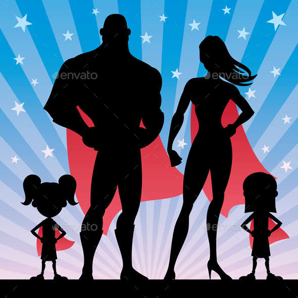 Superhero Family Girls - People Characters