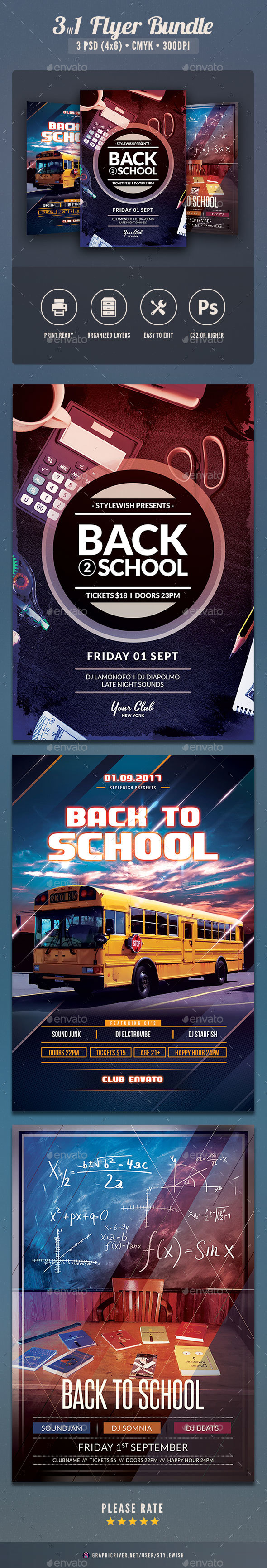 Back to School Flyer Bundle Vol.02 - Clubs & Parties Events