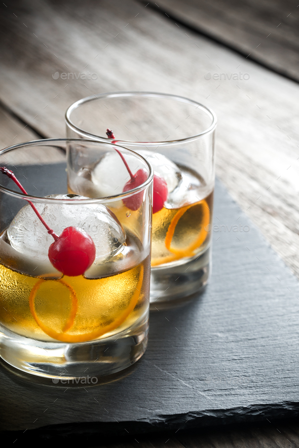 Old Fashioned Cocktails - Stock Photo - Images