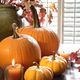 Pumpkins and gourds with candle near window - PhotoDune Item for Sale