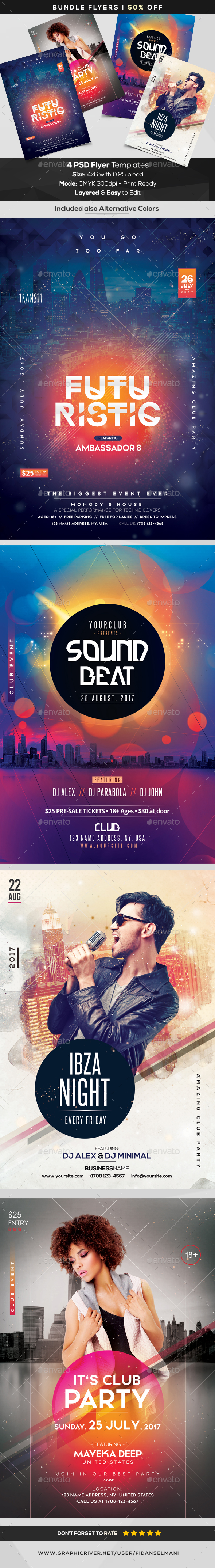 4 Event Flyers | BUNDLE 50% OFF - Flyers Print Templates