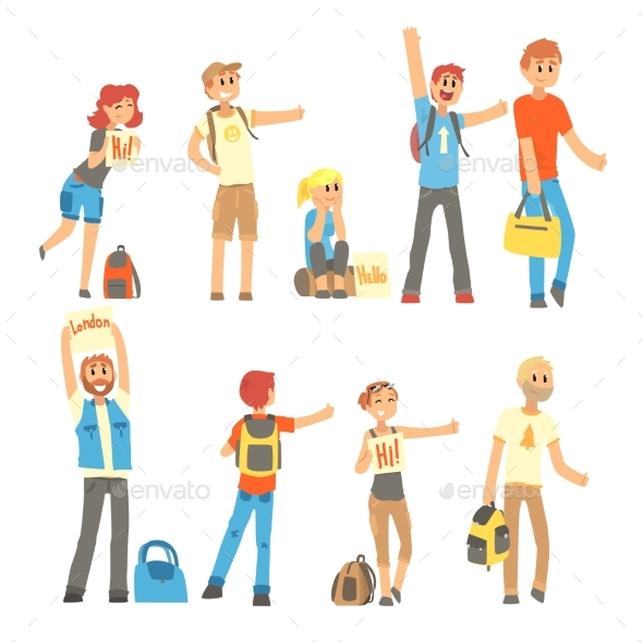 Young People Hitchhiking - People Characters