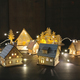 Small wooden houses with lights on table - PhotoDune Item for Sale