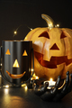 Assorted Halloween candles with pumpkin in background - PhotoDune Item for Sale