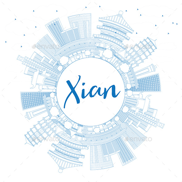 Outline Xian Skyline with Blue Buildings and Copy Space - Buildings Objects