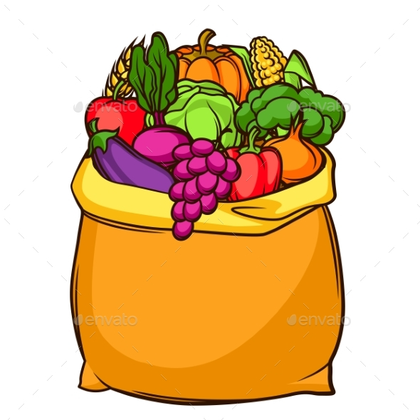 Harvest Illustration of Bag with Seasonal Fruits - Food Objects