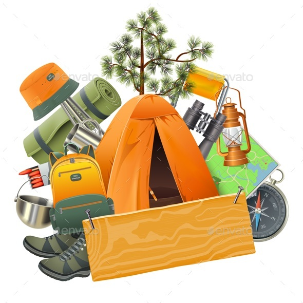 Vector Camping Concept with Tent - Travel Conceptual