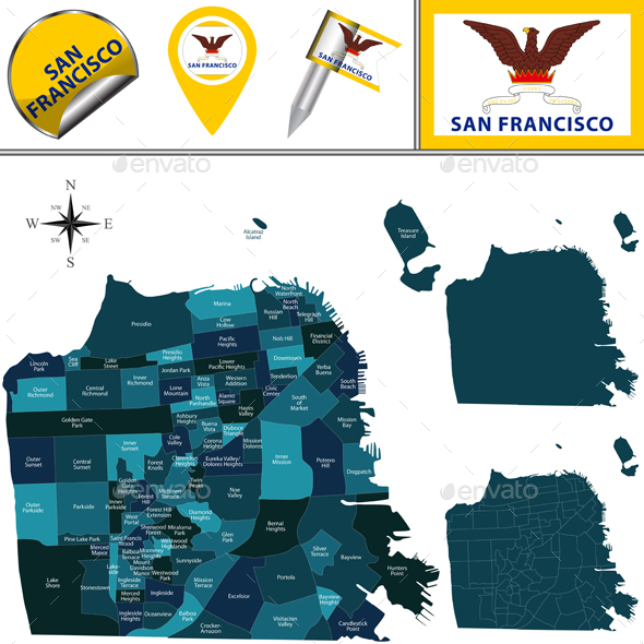 Map of San Francisco with Districts - Travel Conceptual
