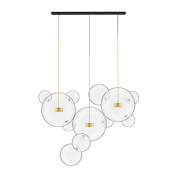 3DOcean Golden Ceiling Lamp with Glass Shades 20529822