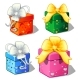 Set of Gift Boxes Green, Blue, Red and Pink Color