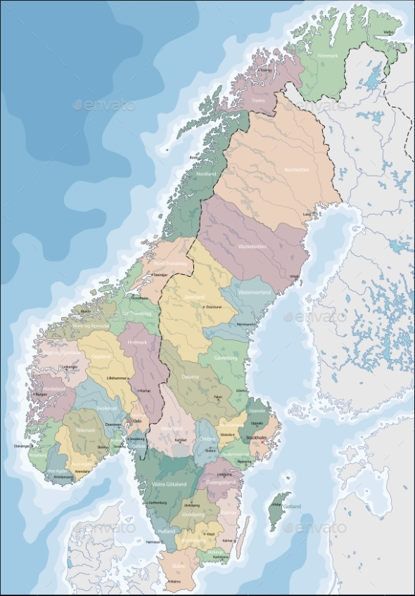 Map of Norway and Sweden - Miscellaneous Vectors