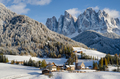 St. Magdalena village in front of Dolomites mountains in the snow - PhotoDune Item for Sale