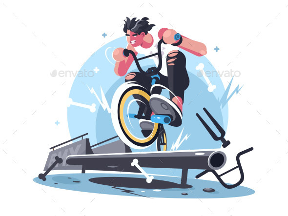 Young Guy Riding Bicycle - People Characters