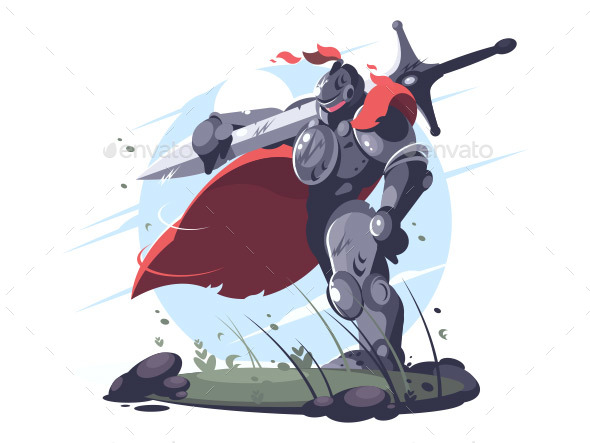 Medieval Knight in Metal Armor and Helmet - People Characters