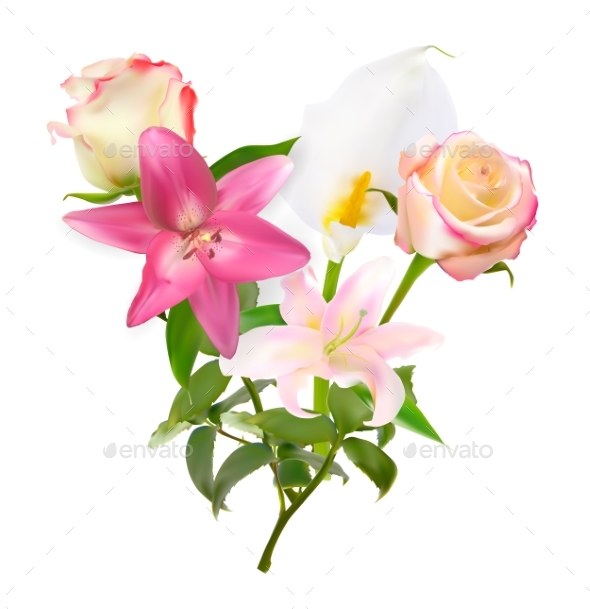 GraphicRiver Vector Illustration with Pink Lily and Calla 20530312