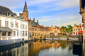 Famous water canal with colorful houses and boats in Bruges - PhotoDune Item for Sale