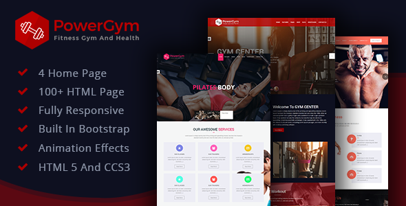 PowerGym: Gym, Body Building, Fitness & Health Fully Responsive HTML Template