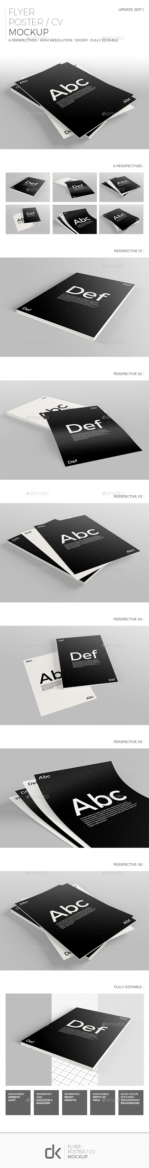 Realistic Flyer/Poster/CV Mockup 2 - Flyers Print